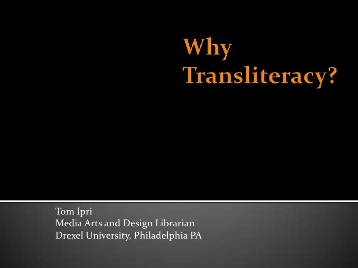 Tom IpriMedia Arts and Design LibrarianDrexel University, Philadelphia PA