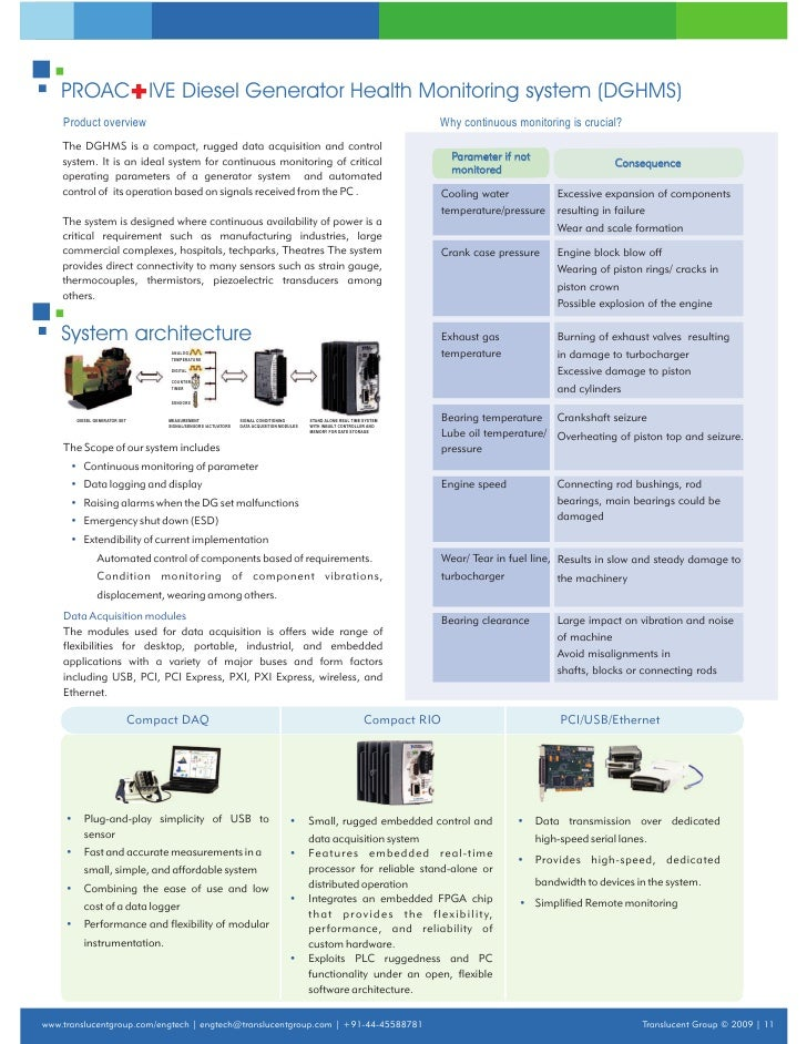 Translucent ETS Diesel Generator Health Monitoring System