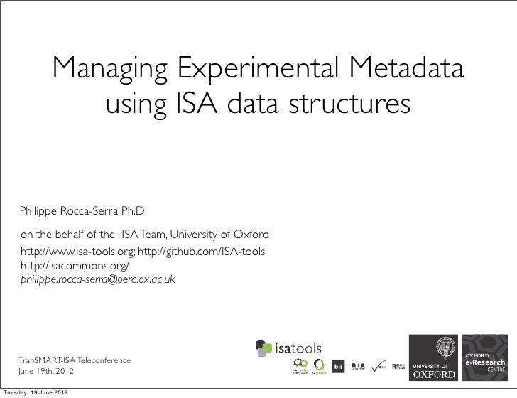 Managing Experimental Metadata                  using ISA data structures     Philippe Rocca-Serra Ph.D     on the behalf ...