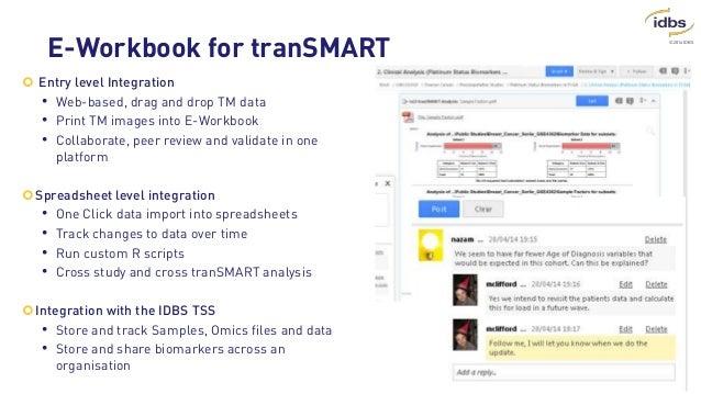 ©2014 IDBS E-Workbook for tranSMART  Entry level Integration • Web-based, drag and drop TM data • Print TM images into E-...