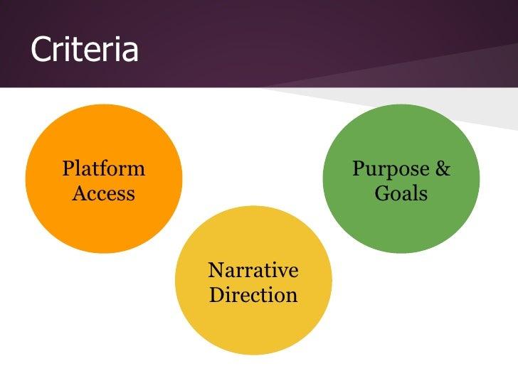 Criteria  Platform               Purpose &   Access                  Goals             Narrative             Direction