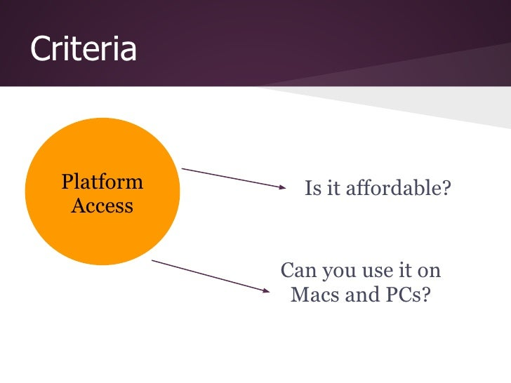 Criteria  Platform     Is it affordable?   Access             Can you use it on              Macs and PCs?