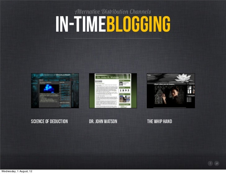 Alternative Distribution Channels                                   in-timeblogging                      Science of deduct...