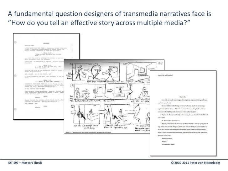 transmedia storytelling thesis The 2-year practice-oriented study course is providing students with a background in either, design, architecture, informatics or engineering a contemporary transmedial interaction design framework.