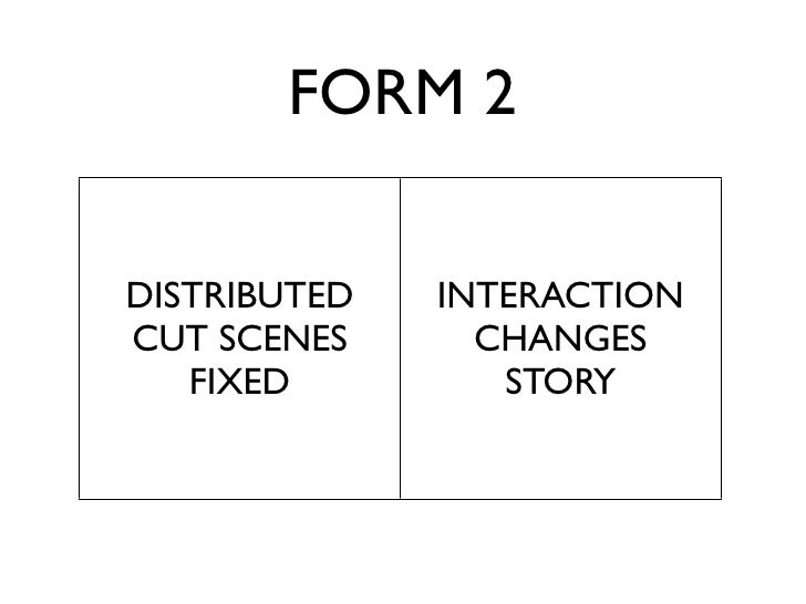 FORM 2  DISTRIBUTED   INTERACTION CUT SCENES      CHANGES    FIXED         STORY