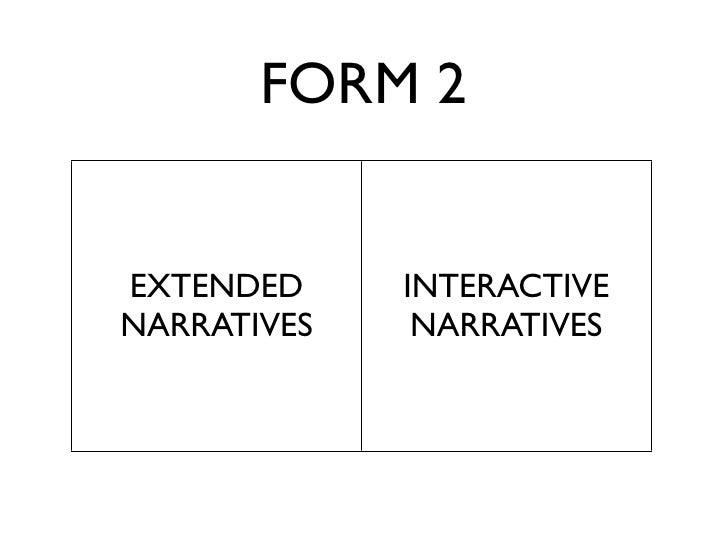 FORM 2   EXTENDED     INTERACTIVE NARRATIVES    NARRATIVES