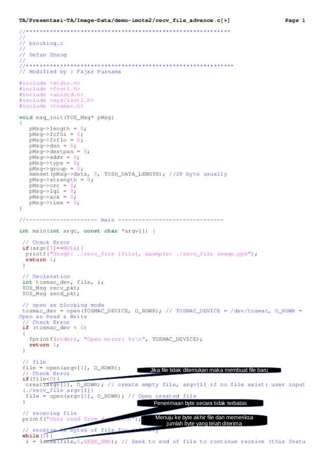 Jika file tidak ditemukan maka membuat file baru Menuju ke byte akhir file dan memeriksa jumlah byte yang telah diterima P...