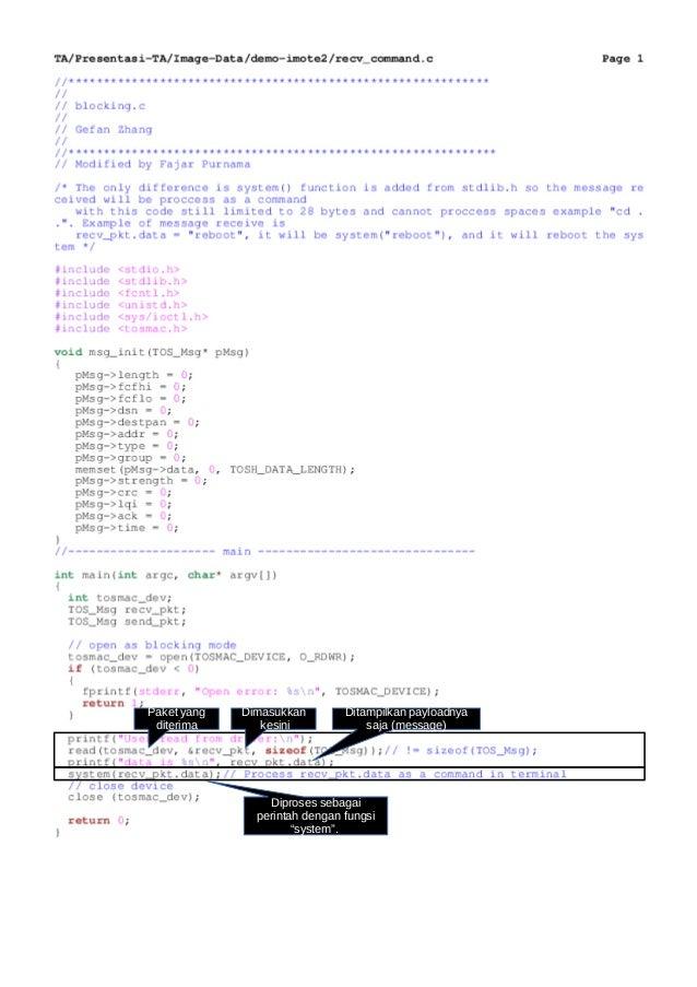 """Paket yang diterima Dimasukkan kesini Ditampilkan payloadnya saja (message) Diproses sebagai perintah dengan fungsi """"syste..."""