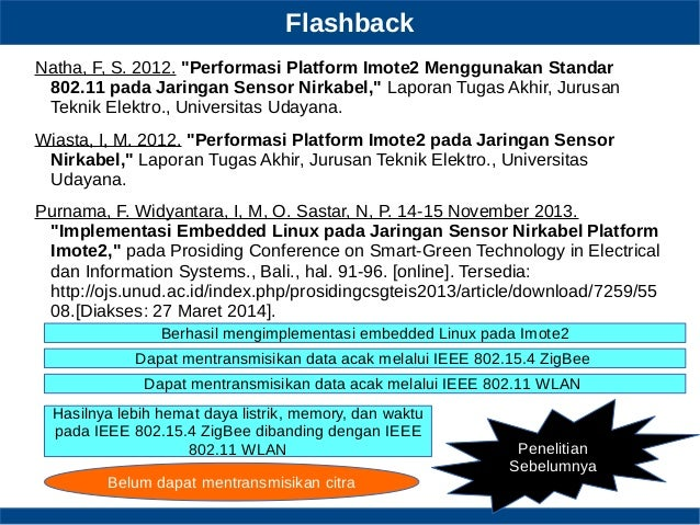 "Flashback Natha, F, S. 2012. ""Performasi Platform Imote2 Menggunakan Standar 802.11 pada Jaringan Sensor Nirkabel,"" Lapora..."