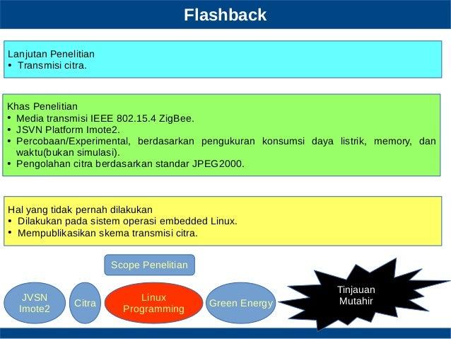 Flashback Tinjauan Mutahir Lanjutan Penelitian ● Transmisi citra. Khas Penelitian ● Media transmisi IEEE 802.15.4 ZigBee. ...