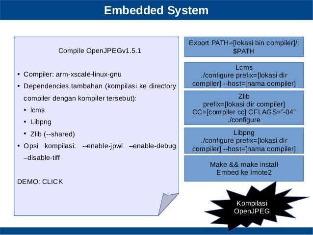 Embedded System Kompilasi OpenJPEG Compile OpenJPEGv1.5.1 ● Compiler: arm-xscale-linux-gnu ● Dependencies tambahan (kompil...