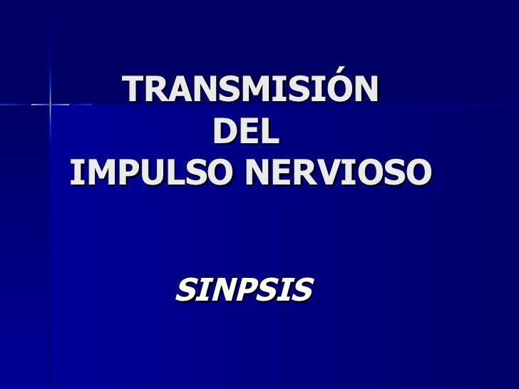 TRANSMISIÓN DEL  IMPULSO NERVIOSO SINPSIS
