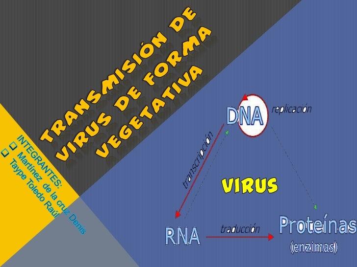 Transmisión de virus de forma vegetativa<br />virus<br />INTEGRANTES:<br /><ul><li>Martínez  de la cruz Denis