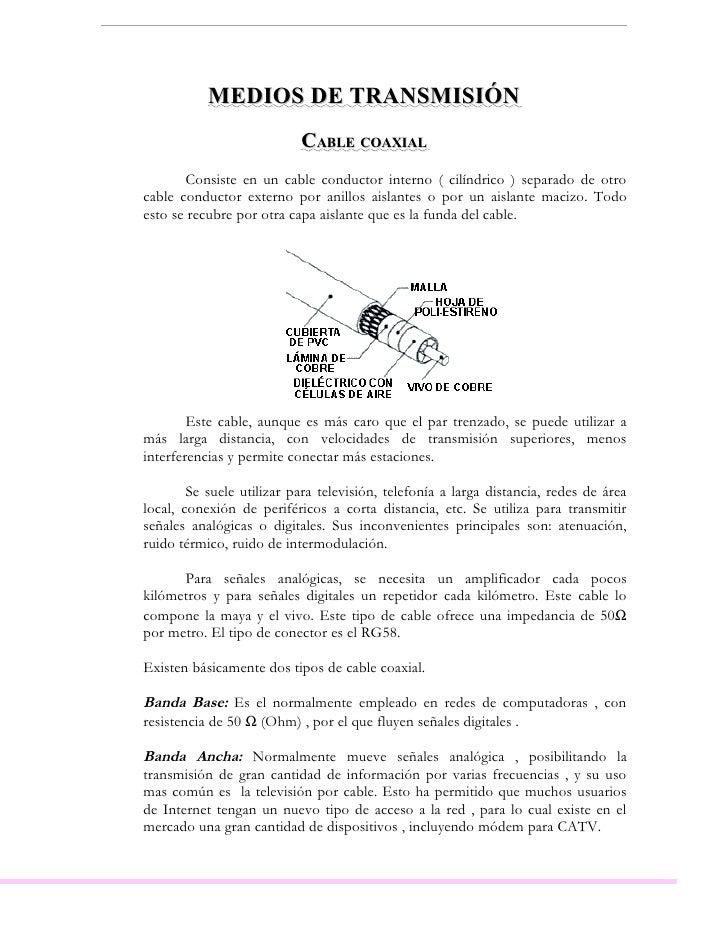 MEDIOS DE TRANSMISIÓN                            CABLE COAXIAL        Consiste en un cable conductor interno ( cilíndrico ...