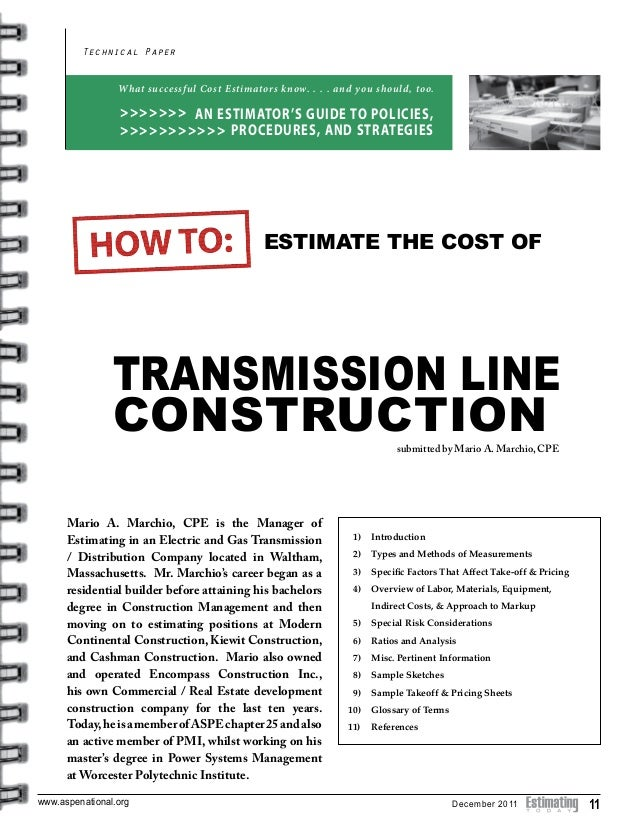 Transmision line construction for Online construction cost estimator