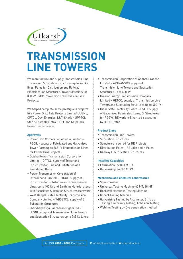 Transmission Line Towers Manufacturers in India