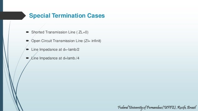 Special Termination Cases  Shorted Transmission Line ( ZL=0)  Open Circuit Transmission Line (Zl= infinit)  Line Impeda...
