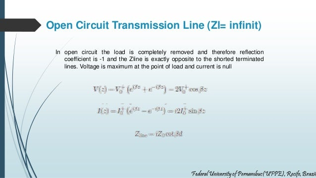 Open Circuit Transmission Line (Zl= infinit) In open circuit the load is completely removed and therefore reflection coeff...