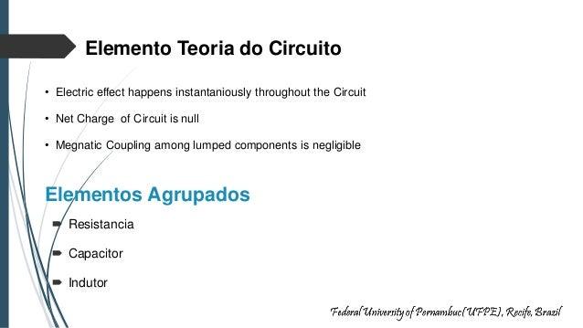 Elementos Agrupados  Resistancia  Capacitor  Indutor Elemento Teoria do Circuito • Electric effect happens instantaniou...