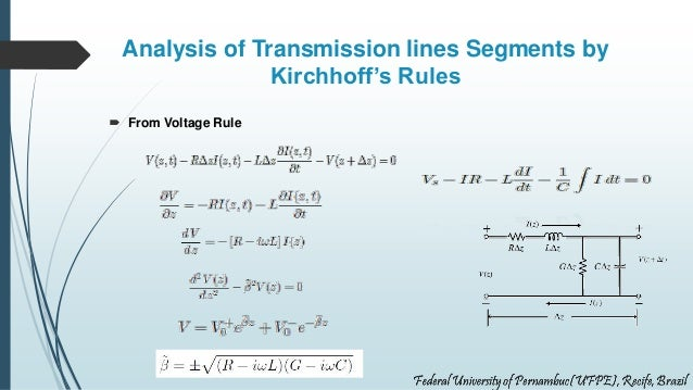 Analysis of Transmission lines Segments by Kirchhoff's Rules  From Voltage Rule