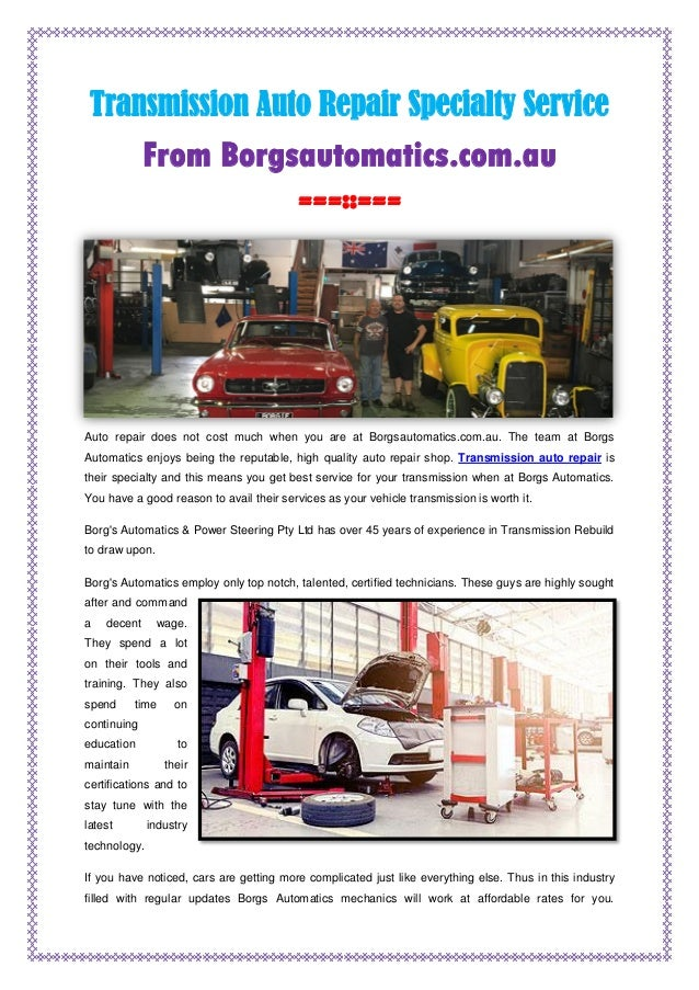 Transmission Auto Repair Specialty Service
