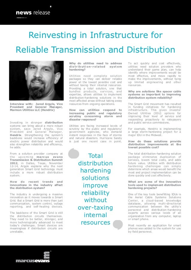 Reinvesting in Infrastructure for    Reliable Transmission and Distribution                                              W...