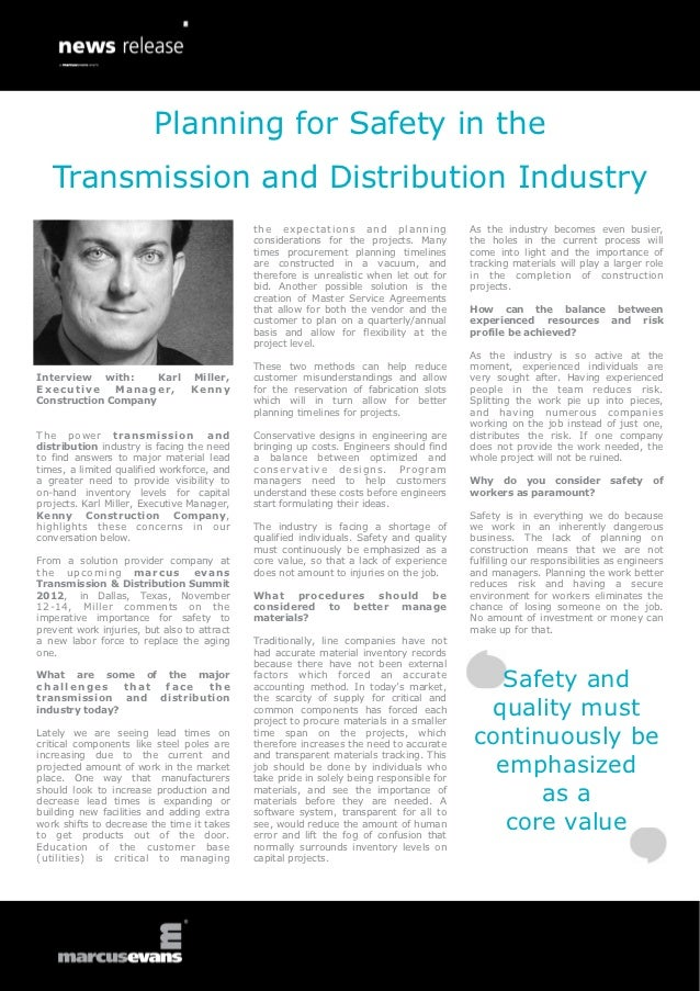 Planning for Safety in the   Transmission and Distribution Industry                                             t h e e x ...