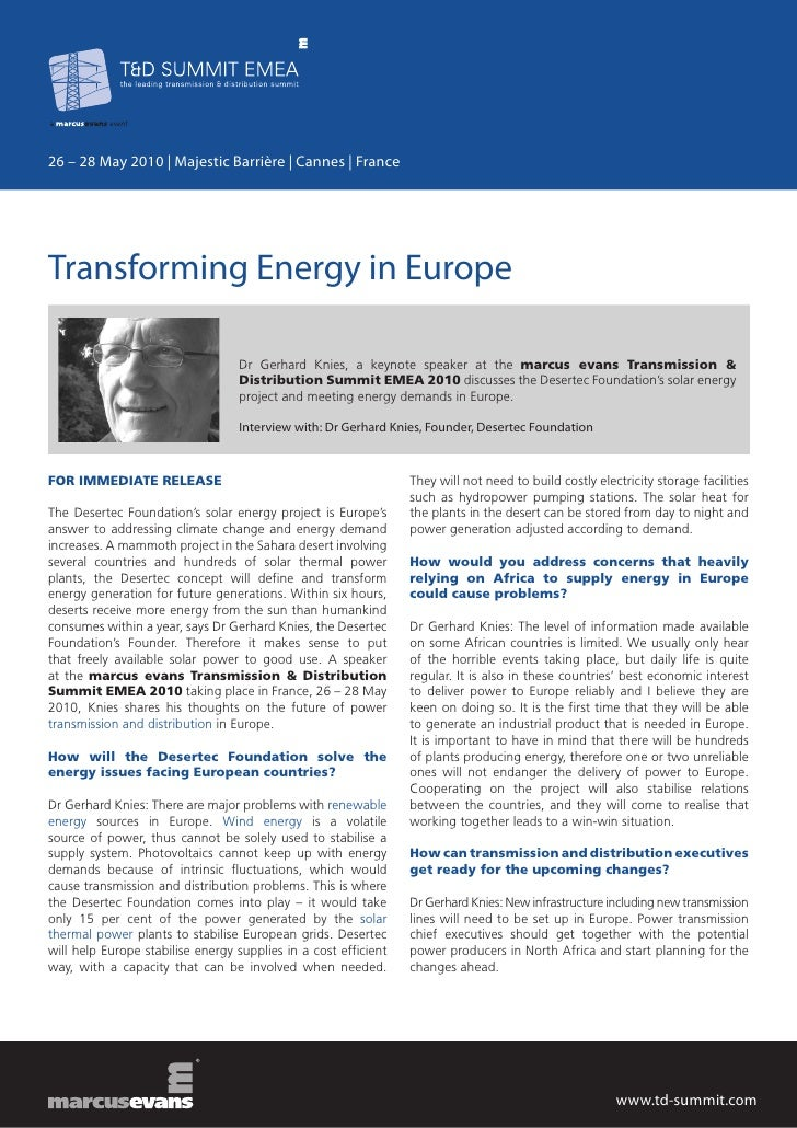 26 – 28 May 2010 | Majestic Barrière | Cannes | FranceTransforming Energy in Europe                                  Dr Ge...