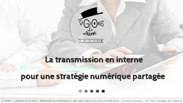 www.slideproject.com La transmission en interne pour une stratégie numérique partagée JT MOPA / LANGON 10,03,2015 / REPENS...