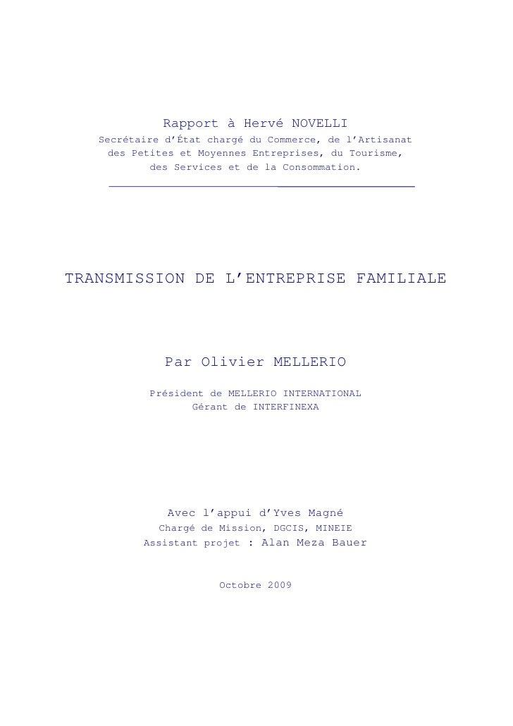 Rapport à Hervé NOVELLI   Secrétaire d'État chargé du Commerce, de l'Artisanat     des Petites et Moyennes Entreprises, du...