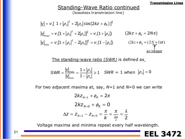 Standing Wave Ratio : Transmission lines