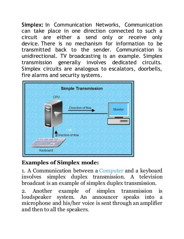 Transmission Modes Simplex Duplex Amp Half Duplex