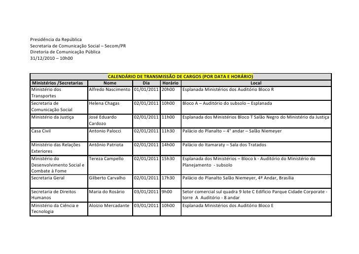 Presidência da RepúblicaSecretaria de Comunicação Social – Secom/PRDiretoria de Comunicação Pública31/12/2010 – 10h00     ...