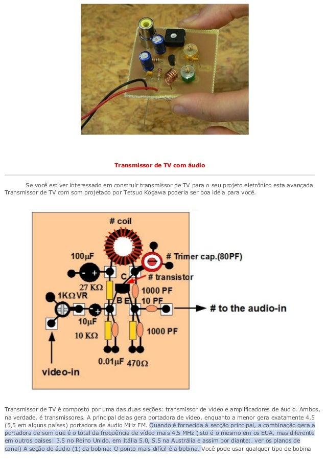 Transmissor de TV com áudio  Se você estiver interessado em construir transmissor de TV para o seu projeto eletrônico esta...