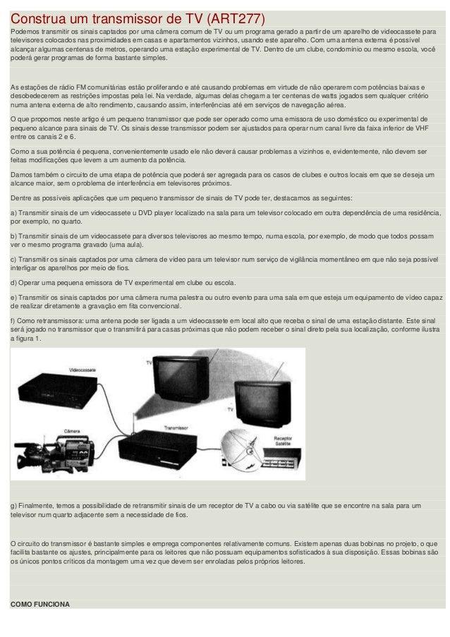 Construa um transmissor de TV (ART277) Podemos transmitir os sinais captados por uma câmera comum de TV ou um programa ger...
