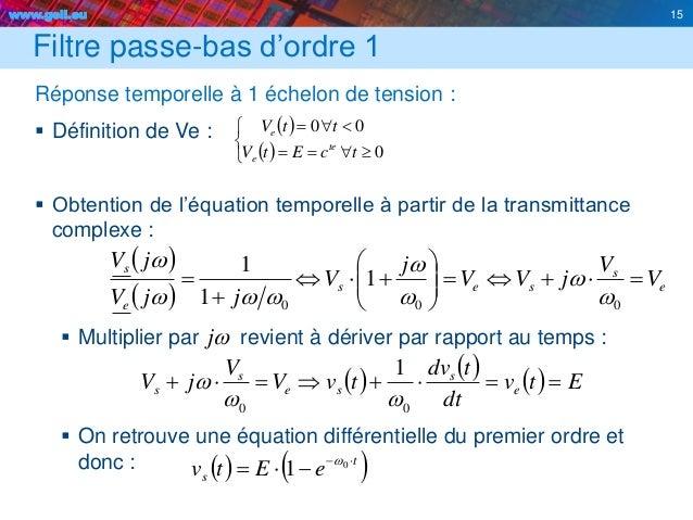 www.geii.eu 15 Filtre passe-bas d'ordre 1 Réponse temporelle à 1 échelon de tension :  Définition de Ve :  Obtention de ...