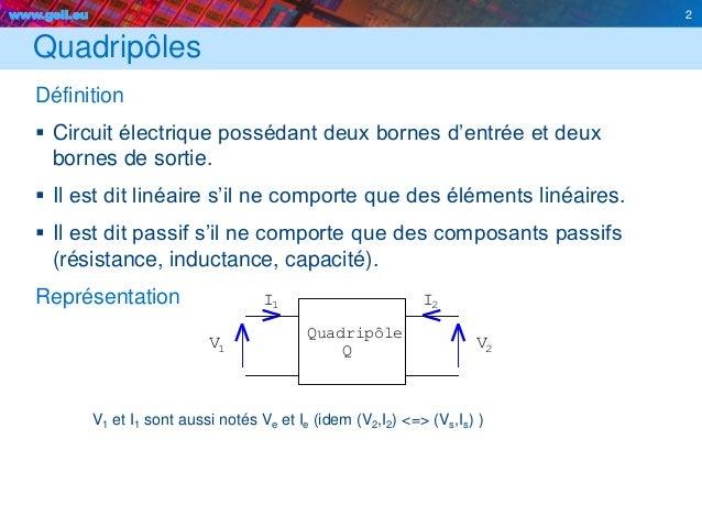 www.geii.eu 2 Quadripôles Définition  Circuit électrique possédant deux bornes d'entrée et deux bornes de sortie.  Il es...