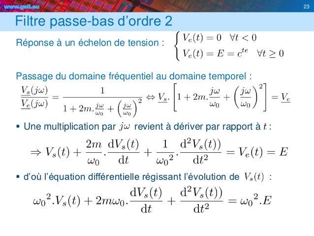 www.geii.eu 23 Filtre passe-bas d'ordre 2 Réponse à un échelon de tension : Passage du domaine fréquentiel au domaine temp...