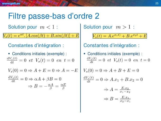 www.geii.eu Filtre passe-bas d'ordre 2 Solution pour : Constantes d'intégration :  Conditions initiales (exemple) : Solut...