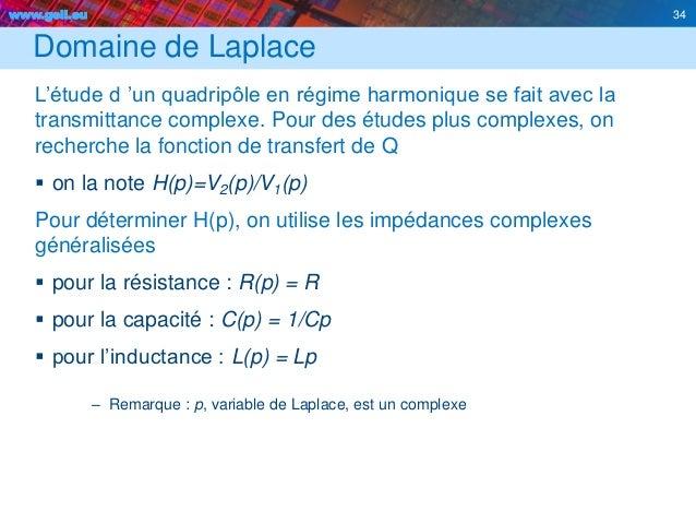 www.geii.eu 34 Domaine de Laplace L'étude d 'un quadripôle en régime harmonique se fait avec la transmittance complexe. Po...