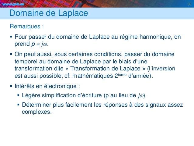 www.geii.eu 35 Domaine de Laplace Remarques :  Pour passer du domaine de Laplace au régime harmonique, on prend p = jw. ...