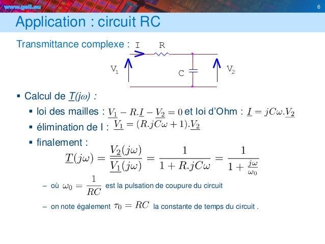 www.geii.eu 6 1 2V V R C I Application : circuit RC Transmittance complexe :  Calcul de T(jw) :  loi des mailles : et lo...