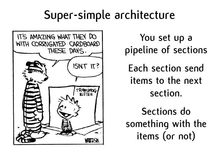 Super-simple architecture                   You set up a                pipeline of sections                 Each section ...