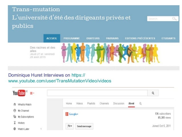 Dominique Huret Interviews on https:// www.youtube.com/user/TransMutationVideo/videos