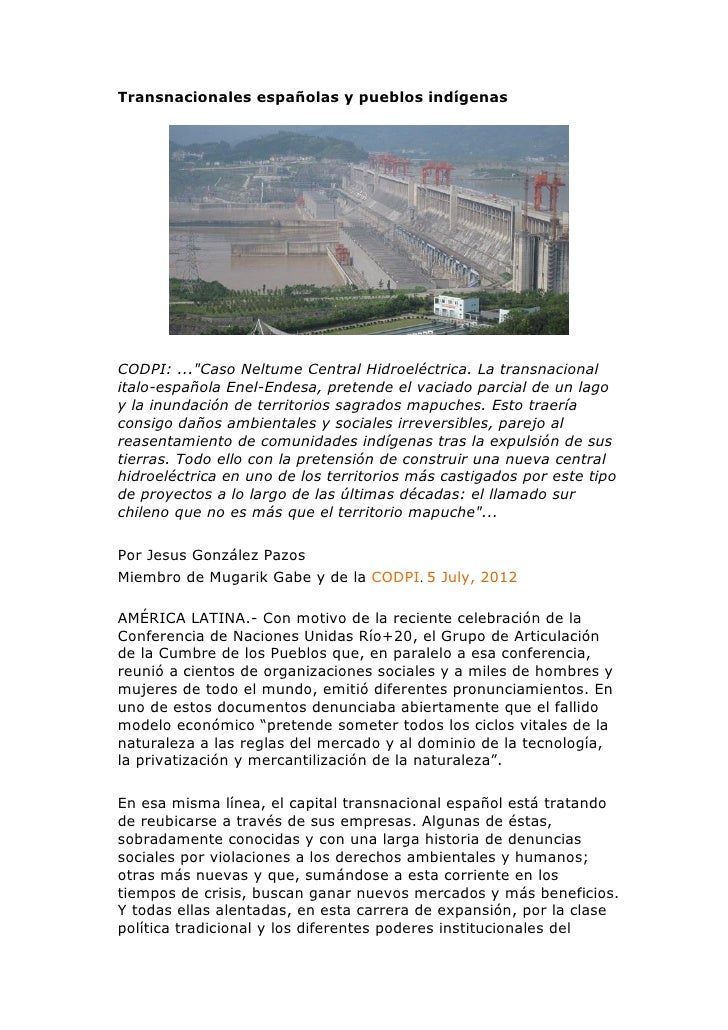 """Transnacionales españolas y pueblos indígenasCODPI: ...""""Caso Neltume Central Hidroeléctrica. La transnacionalitalo-español..."""
