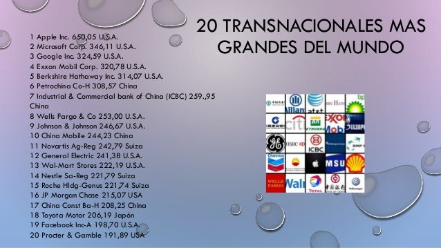 20 TRANSNACIONALES MAS GRANDES DEL MUNDO 1 Apple Inc. 650,05 U.S.A. 2 Microsoft Corp. 346,11 U.S.A. 3 Google Inc. 324,59 U...