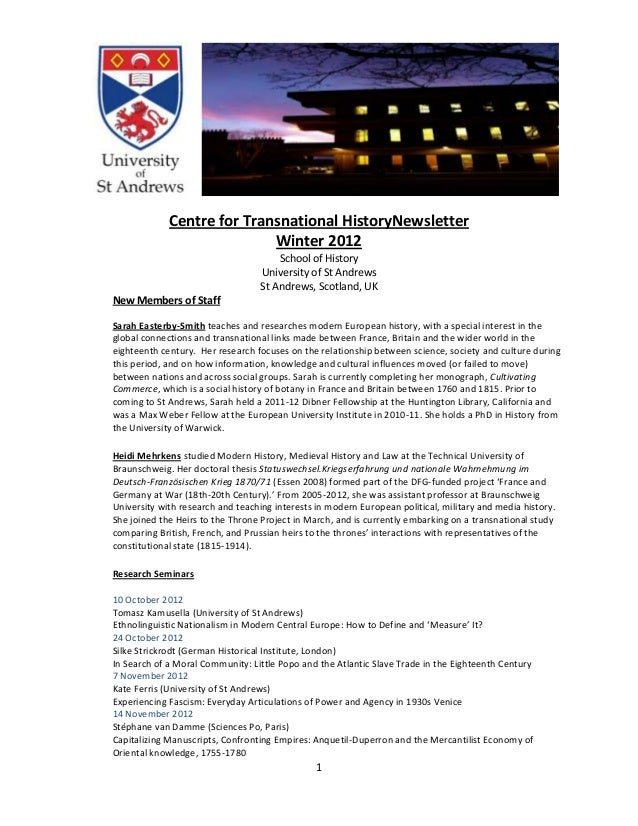 Centre for Transnational HistoryNewsletter                            Winter 2012                                       Sc...