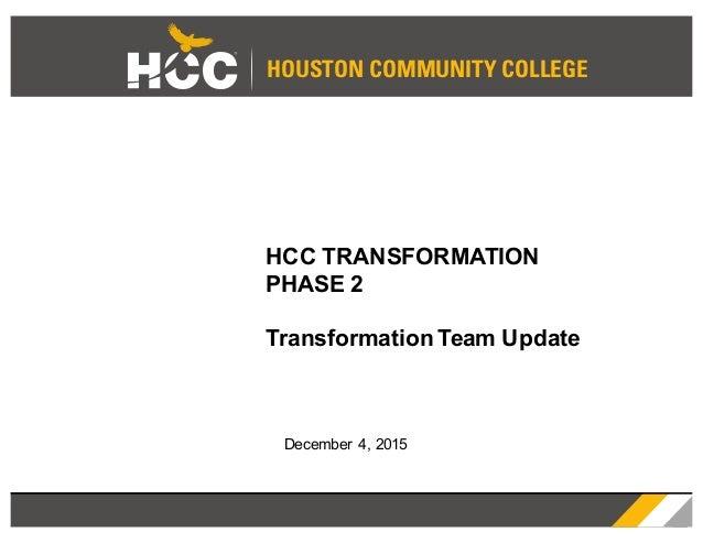 HOUSTON COMMUNITY COLLEGE HCC TRANSFORMATION PHASE 2 Transformation Team Update December 4, 2015
