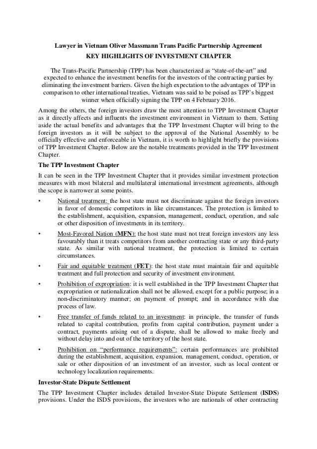 Lawyer in Vietnam Oliver Massmann Trans Pacific Partnership Agreement – Domestic Partnership Agreement