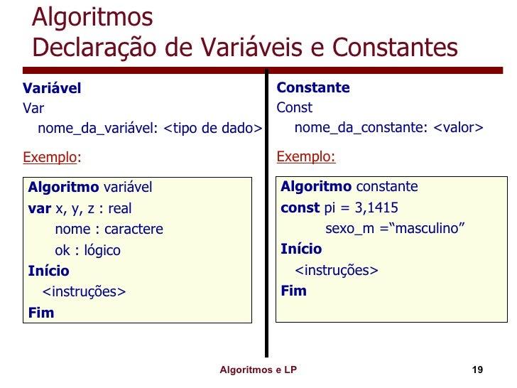 Algoritmos Declaração de Variáveis e Constantes <ul><li>Variável </li></ul><ul><li>Var </li></ul><ul><li>nome_da_variável:...